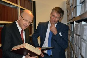 Koen Lenaerts, President of the European Court of Justice, visits the HAEU deposits with the Director, Dieter Schlenker.